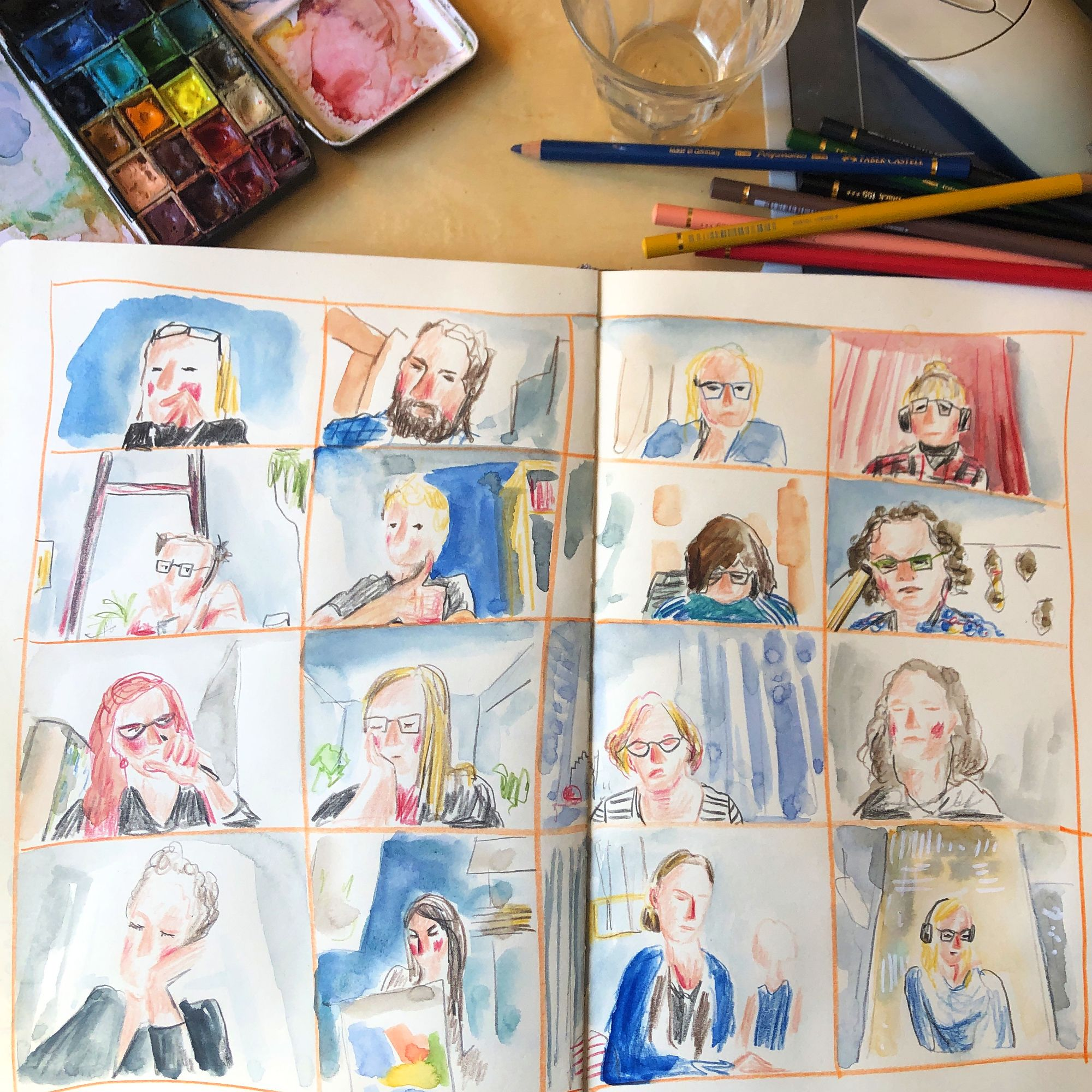 Zoommeeting, 20 april 2020. Aquarel Heleen van den Broek